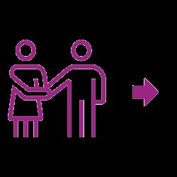 Icône violette partenariat